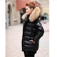 Wholesale Women S Hooded Down Coats - In stock Winter women Down Jackets High Quality Women Warm Slim Large Fur Collar white duck down jacket Parkas Long Down Coats