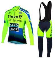 Wholesale Saxo Bank Jersey Long Sleeve - Wholesale-Autumn Long Sleeves Saxo Bank Tinkoff Cycling Clothing Autumn Cycling Jersey Ropa Ciclismo Maillot Bike Wear Bib Pants