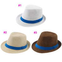 Wholesale Strawhat Fedoras - Blue ribbon decoration 3 colors Kids Straw Hat Baby Summer Straw Cowboy Hat Boys Girls Straw Fedoras Baby Strawhat 10pcs