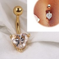 Wholesale Heart Belly - 12pcs 18K Gold Heart Rhinestone Bow Dangle Navel Belly Bar Button Ring Body Piercing pierce