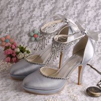 Wholesale Ivory Closed Toe Bridal Shoes - (21 Colors) Top Sell Custom Made Wedding Bridal Prom Sandals Satin Lace Up High Heels Women Pumps with Platform Closed Toe