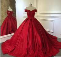 Immagine reale Red Maquerade Ball Gown Prom Dress 2018 V Neck Cap Sleeve Pizzo Applique Corsetto Sweet 16 Abiti Cheap Quinceanera Gown Paese