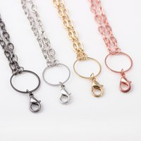 Wholesale collar necklace free shipping - 10pcs Hot Sale Colors Floating Locket Rolo Link Chain Necklace Long Collar Statement Necklace