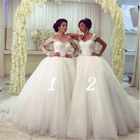 Wholesale Dresses Girlfriends - 2016 Full Lace Girlfriends Wedding Dresses Ball Gown Different Styles Puffy White Ivory Tulle Skirt Arabic Bridal Gowns Vestido De Novia
