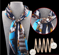 Wholesale Scarf Middle Eastern Style - Women Scarf Buckle Pins 2015 Fashion simple style spiral shape Brass Gold-plated pearl Brooches Silk Scarves Scarf buckle ring clips RC