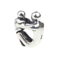 3mm'lik boncuk deliği toptan satış-Boncuk Hunter Takı Otantik katı 925 Ayar Gümüş Anne ve Bebek big hole boncuk Charm anneler Günü Hediye Için 3mm Avrupa Bilezik