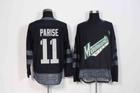 # 11 Zach Parise 100th Anniversary Minnesota Wild Jersey Nero 1917-2017 100th New Cheap Stiched Mens Hockey Maglie
