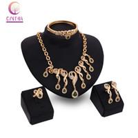 anel de esmeralda africano venda por atacado-Acessórios de moda contas de casamento Africano Esmeralda traje 18k banhado a ouro colar de cristal pulseira brinco anel conjunto de jóias