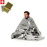 Wholesale Camping Tarps - 210*130cm Portable Pads Sport Climbers Life-saving Military Emergency Blanket Survival Rescue Insulation Silver Golden Curtain Blanket