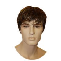 erkekler için tam peruk toptan satış-100% Remy İNSAN Saç Erkek tam Peruk kısa erkekler peruk Kahverengi renk RJ-361 2 #