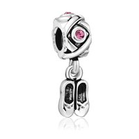 Wholesale Solid Sterling Pandora Beads - Enamel Shoes Pendant Cross Style 925 Sterling solid Silver European Screw Bead Charm Antique Fashion Jewelry Snake pandora Bracelet 1pcs up1