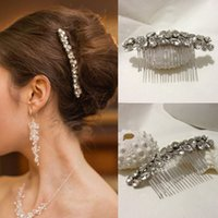 Wholesale wedding hair side - Bridal Hair Combs Simple Long Strip Elegant Cystal Glass Beads Side Wedding Comb Accessories Bridesmaid Prom Headpieces Bridal Comb