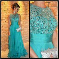 Wholesale Turquoise Blue Evening Dress - 2015 Best Selling A Line Prom Dress Luxury Crystal Beading Chiffon Turquoise Evening Party Dress Sleeveless Floor Length Vestido De Festa