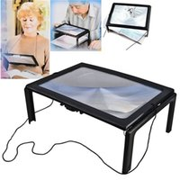 Wholesale Large Magnifier 3x - Magnifier A4 Full Page Large 3X Giant Hands Free Desk Magnifying Glass Magnifier for Reading Sewing Knitting With 4 LED Light