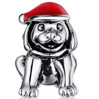 Wholesale Dog Christmas Charms - Wholesale 925 Sterling Silver Christmas Sled Dog & Hats European Charms Silver Beads For Pandora Snake Chain Bracelets Fashion DIY Jewelry