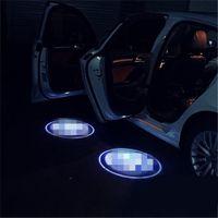 Wholesale 6w Blue Led - 4Case for harley davidson Case for maybach Car Logo LED Interior Lights Welcome Door Ghost Shadow Lamps 12V Warning lights
