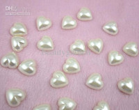 Wholesale Heart Pearl Flatback - 500pcs lot diy craft 12mm heart shaped pearl flatback wedding party gift favor decoration candy box jewelry accessories wa026
