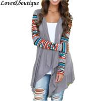 Wholesale wholesale drape cardigan - Wholesale- Sweater 2015 Autumn Women Grey Geometric Print Irregular Long Sleeve Casual Cardigan Drape Front Knit Cardigan Fashion Fall Tops