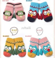 Wholesale Baby Owl Gloves - Wholesale-Free Shipping New Children Winter Gloves Baby Gloves Warm Gloves Lovely Owl And Robot Style Mittens For Kids