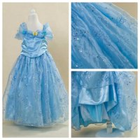 Wholesale Costume Children Cinderella - cinderella 2015 movie party princess dress butterfly girl dress children carnival costume for girl cinderella butterfly dress high quality
