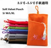 Wholesale Soft Black Velvet Pouch - Universal Soft Velvet Pouch Bag Case Pockets (S M L XL) For iPhone Samsung HTC LG MOTO Huawei Phone