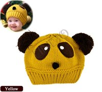 Wholesale Toddler Hat Knitting Patterns Free - 5pcs lot Free shipping Cute Panda Pattern Baby Love Dual Ball Toddler Girls Boys Wool Knit Sweater Cap Hat 35