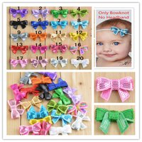 Wholesale Color Butterfly Beads - 120pcs baby girls 4cm glitter hair bows sequin bead bows butterfly beads knoted bowknotws hair accessories baby headwear