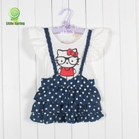 Wholesale Kitty Shorts - New Girl Hello Kitty Short sleeve dress 2015 Summer cartoon Kitty Children Lovely Girl dress B001