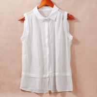 Wholesale Order Chiffon Blouse - Fashion Women Sheer Chiffon Blouse Turn-down Collar Button Sleeveless Top blusas camisa feminina cheap clothes china order<$18no track