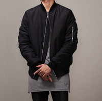 Wholesale Sleeve Styles Men - 2016 Fashion Hi-Street Mens Military Style MA1 Bomber hip hop Jacket Black Mens Slim Fit Hip Hop Varsity Baseball Jacket