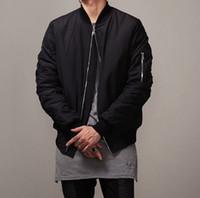 Wholesale Men S Slim Fit Jackets - 2016 Fashion Hi-Street Mens Military Style MA1 Bomber hip hop Jacket Black Mens Slim Fit Hip Hop Varsity Baseball Jacket