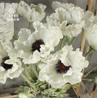 flores de amapola roja artificial al por mayor-Flores de boda Flor de seda Blanco / rojo / Orang Flores de amapola PU Anémonas artificiales para mesa Bouquet Centros de mesa Flores de PU natural Grandes