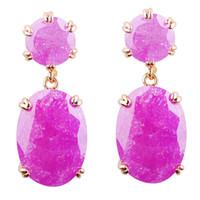 Wholesale Dangling Earrings 24k - Bohemia Jewellery Ice flowers women's 24K yellow gold plated drop Earrings for women gift 1pair