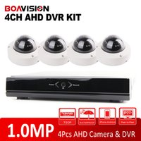 Wholesale Night Time Security Cameras - 4CH Full AHD DVR 25FPS Real Time CCTV HDMI Output DVR NVR Kit With 1.0MP 720P Outdoor Dome Security Camera IR Night Vision Video System