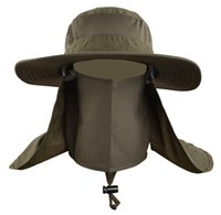 Wholesale Wide Brim Hat Outdoor - Men Summer Outdoor Quick Drying Sun Hat Women Fishing Hats With Face Neck Cover Wide Brim Breathable Climbing Visors Bucket Hat