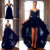 Wholesale Gold Prom Hi Lo Dresses - 2018 Black Mildde East Half Long Sleeves High Low Prom Dresses Lace Formal Vestidos De Festa Party Gowns Spaghetti Straps Evening Dresses