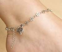 Wholesale Hand Ankle Cuffs - Wholesale-1PC Hot Charm Hand made Tibetan silver Tone Daisy chain flower anklet ankle bracelet summer beach