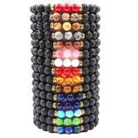 ingrosso olio di stringa-Vairous colors Natural Black Lava Stone Beads Bracciale elastico Bracciale con diffusore di olio essenziale di roccia vulcanica