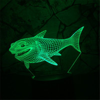 3D Requin Enfant Nuit Animal Illusion Optique Lampe de Table Lampe Touche 7 Couleur Pépinière Accueil Lumière Party Decor FriendHoliday Cadeau