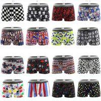 Wholesale Milk Silk Panties - Cool Sexy Print milk silk men underpants shorts men's national flag cartoon boxers underwear Comfortable breathable male panties