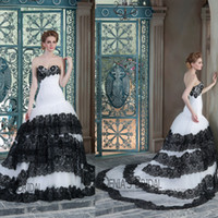 Wholesale Tires Tulle Dresses - 2015 Sexy Mermaid Wedding Dresses Lace Sweetheart Neckline Strapless Black and White Tired Skirt Lace Up Court Train Denia Bridal Gowns