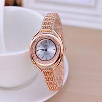 Wholesale women chain wrist watches - 2018 Fashion Luxury Women Watches Diamond Lady Rose Gold Steel Chain Clock High Quality Casual Brand Designer Wrist Watch
