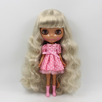 Wholesale Love Dolls For Sale - Wholesale-Blyth doll nude bjd 1 6 little black skin doll silver long curly hair doll mom love modified DIY bjd dolls for sale