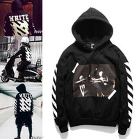 black hoodies - 2016 OFF WHITE mens pullover stripe offset print hoodies fleece Sweatshirts brand HBA Vision religion painting VIRGIL ABLOH