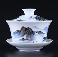 Wholesale Celadon Chinese Tea Set - Creative Landscape Painting Ceramic Gaiwan 200ml Chinese Blue And White Tea Cup Porcelain Kung Fu Tea Set Drinkware Gai Wan
