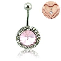 Brand New Belly Button Ring Surgical Steel Pink Rhinestone Round Navel Anéis Para Mulheres Piercing Piercing Jóias
