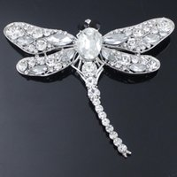 Wholesale Clear Rhinestone Crystal Dragonfly Brooch - 1 X Clear Glass Rhinestone Crystal Fashion Silver Stunning Dragonfly Brooch Pin order<$18 no tracking