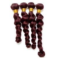 bordo saç örgüleri toptan satış-# 99j Brezilyalı Gevşek Dalga İnsan Saç Örgüleri 4 adet 8A Sınıfı Bordo 100% Bakire Remy Saç Demetleri Çift Atkı Uzantıları