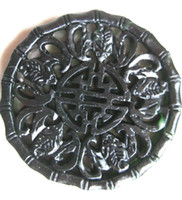 Wholesale Chinese Luck - Chinese Xinjiang old black jade hand-carved five bat pendant bring luck (Wu Fu Lin Men) fashion jewelry black and green jade