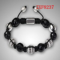 Wholesale White Shamballa Men - Nialaya Natural stone cool white and black dill style bracelets Factory shamballa alloy Weave adjust men is crystal bracelets ZXF8237